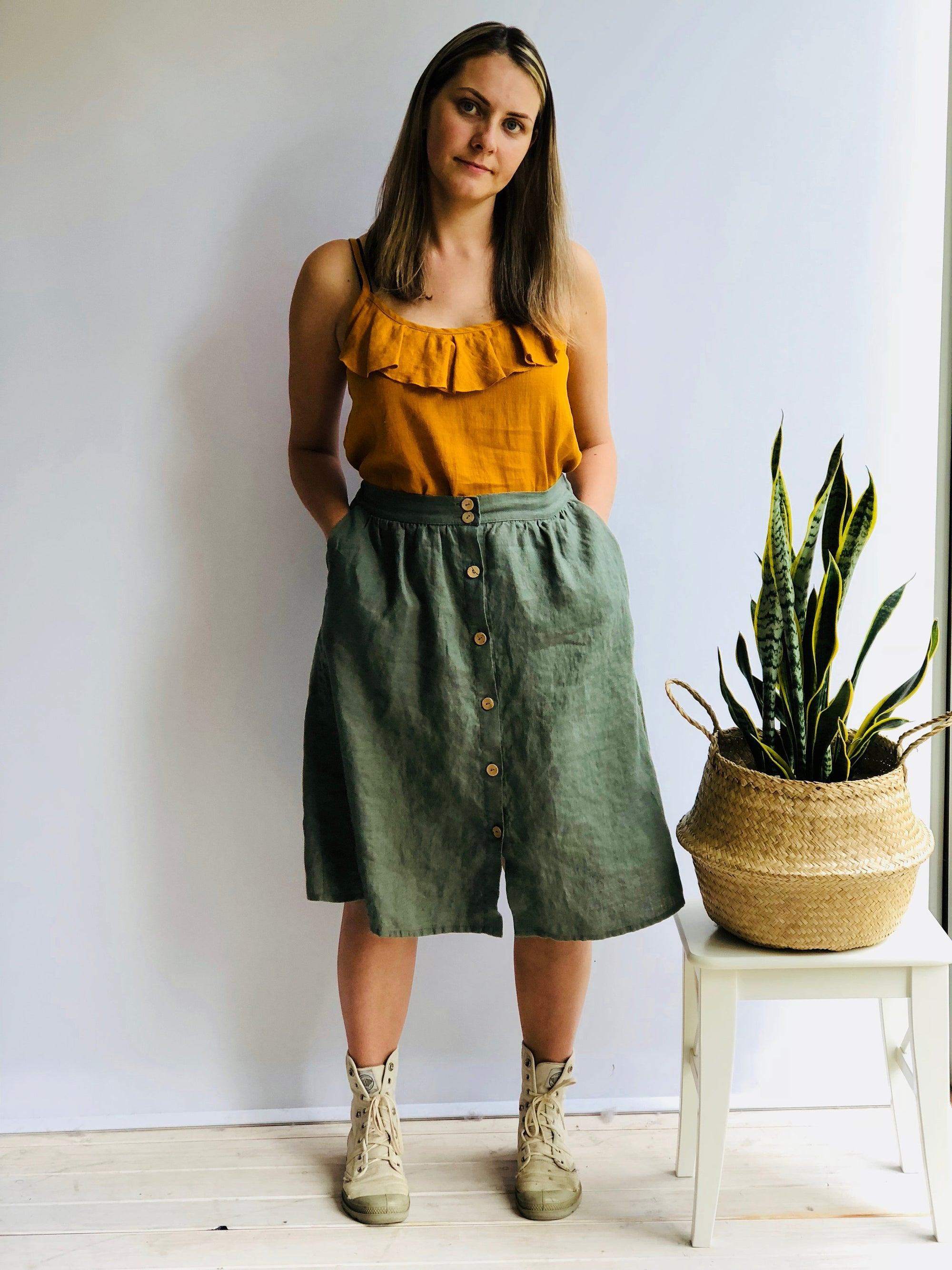 Linen Skirt with Buttons, Boho Skirt, Midi Skirt, Skirt with Pockets, Womens Skirts, Linen skirt Midi, Skirts for Women, Linen Skirt Pockets