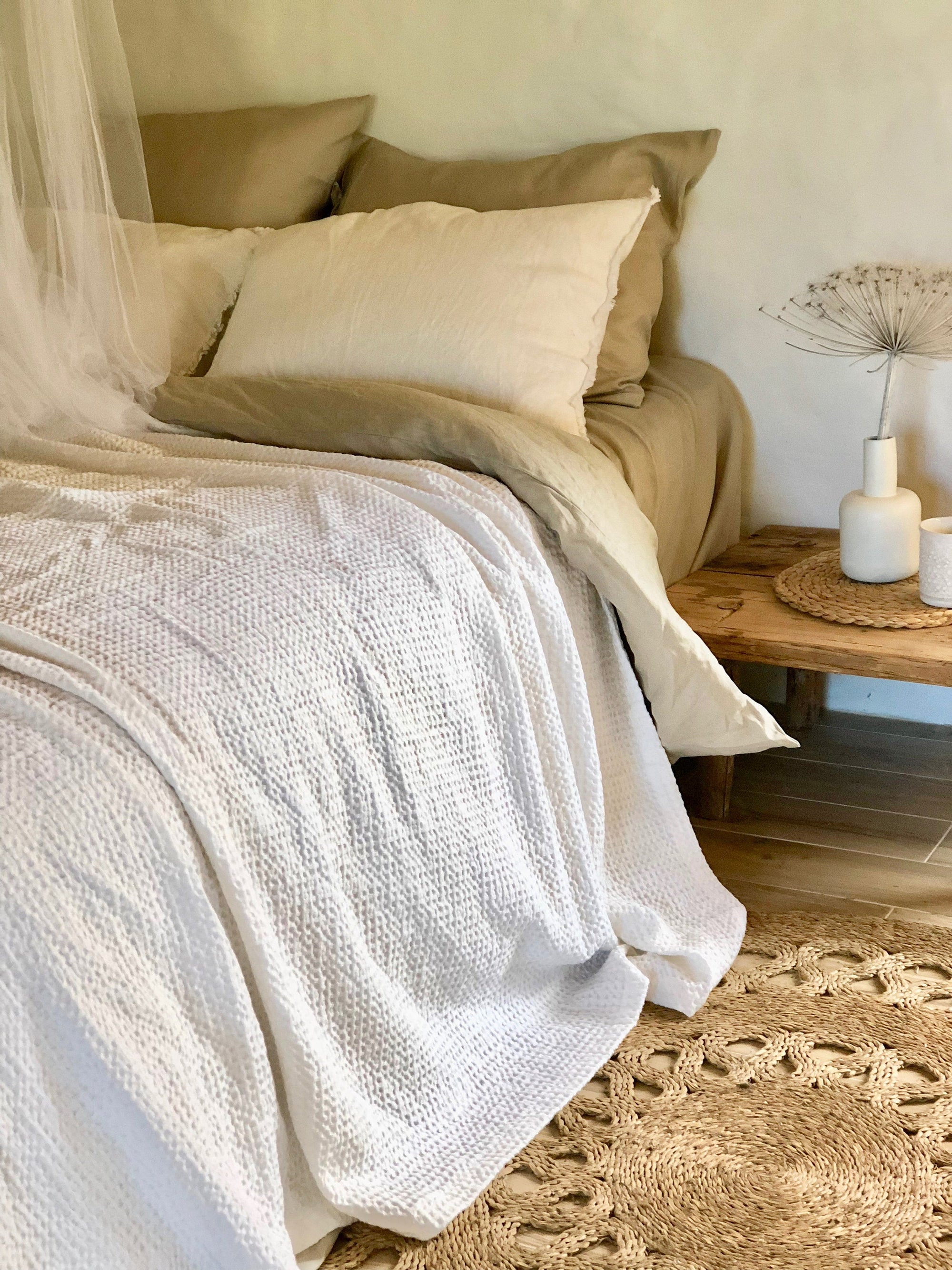 Bed cover White color Textured, Waffle  Linen blanket, Linen throw, Bed throw, rustic throw, White bed covers linen bedding
