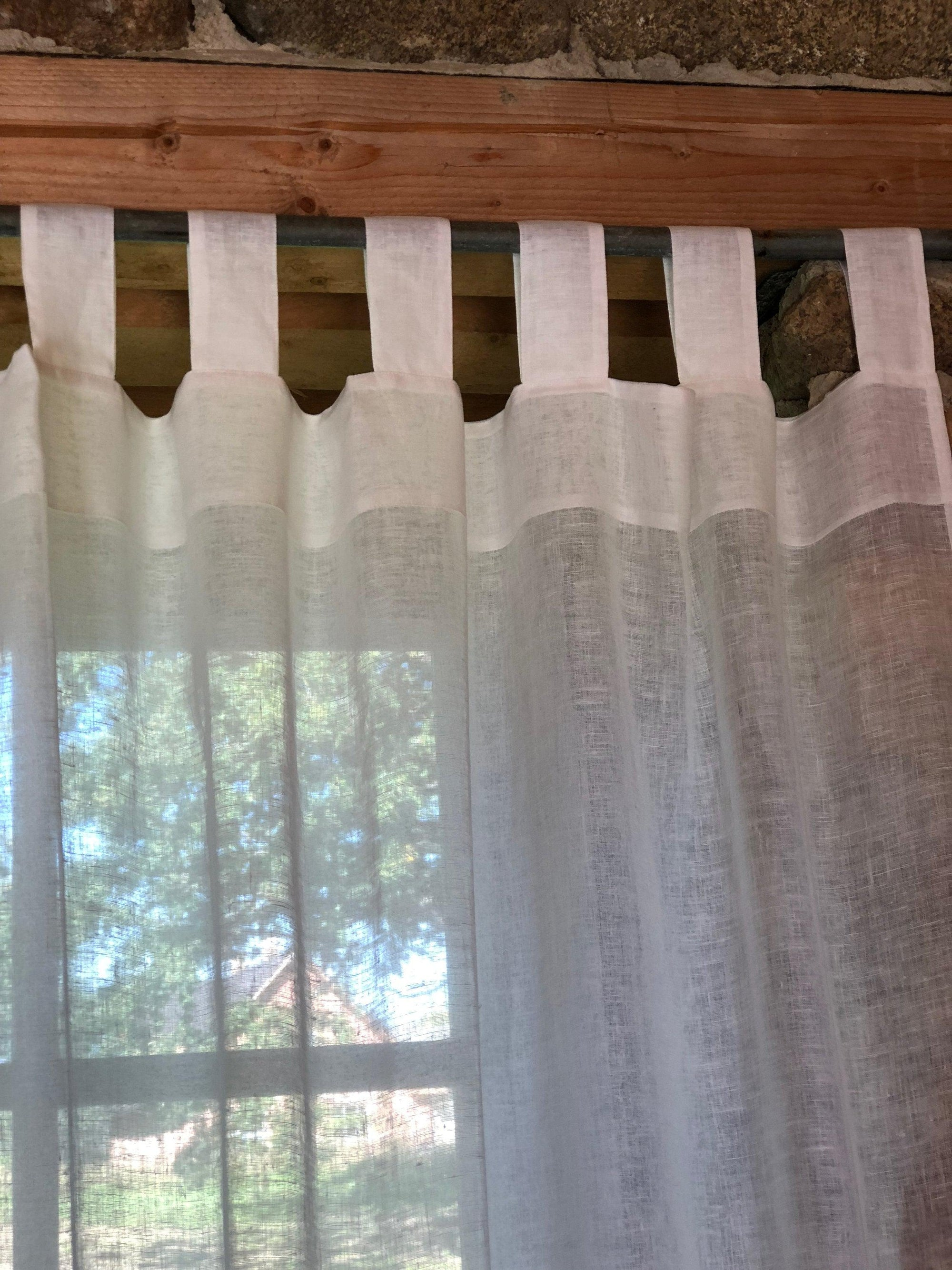 Linen Curtain Panel,White Curtains-Linenbee