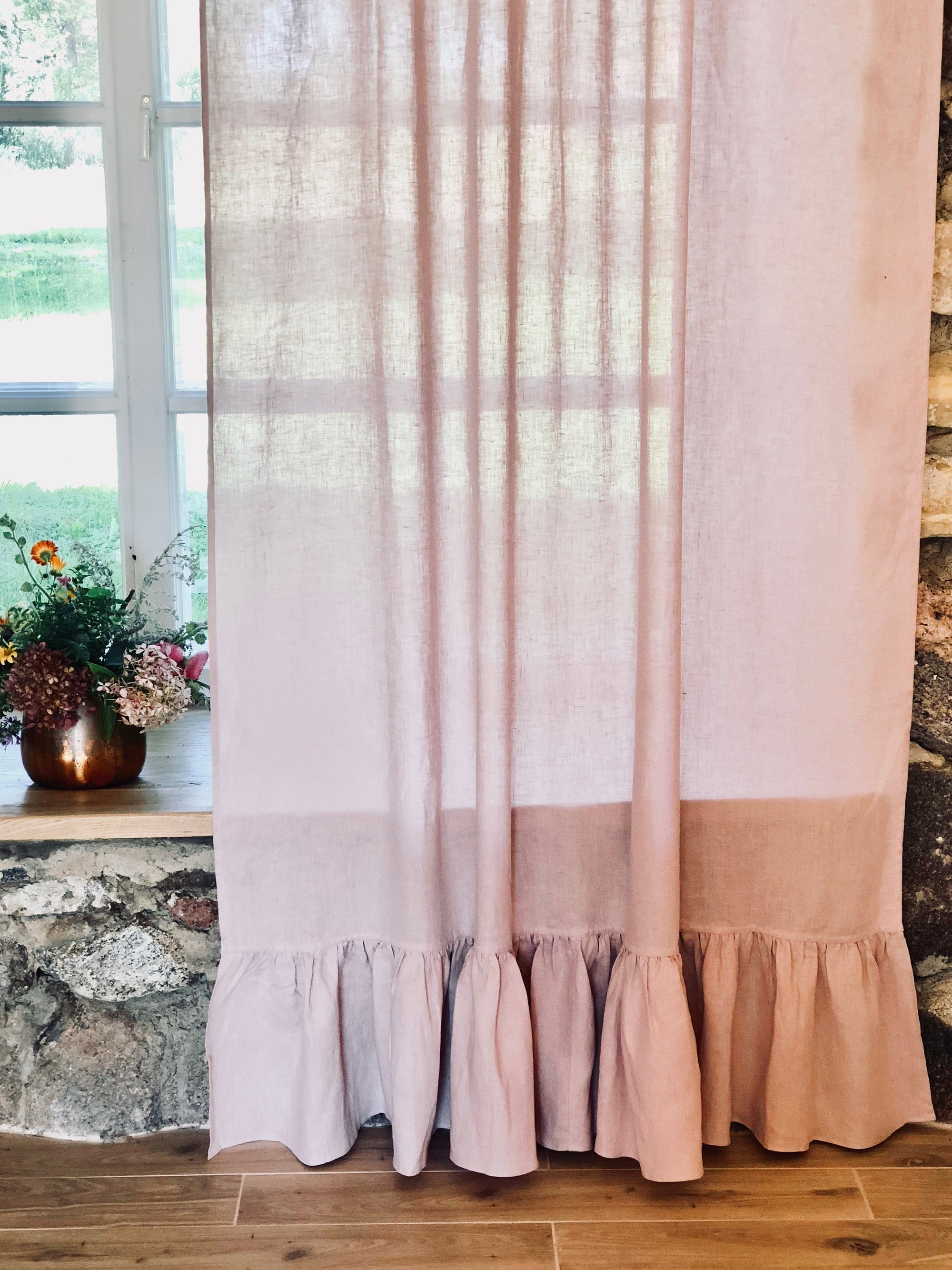 Linen Curtain Panel with Ruffle, Dusty Pink Window Curtains-Linenbee