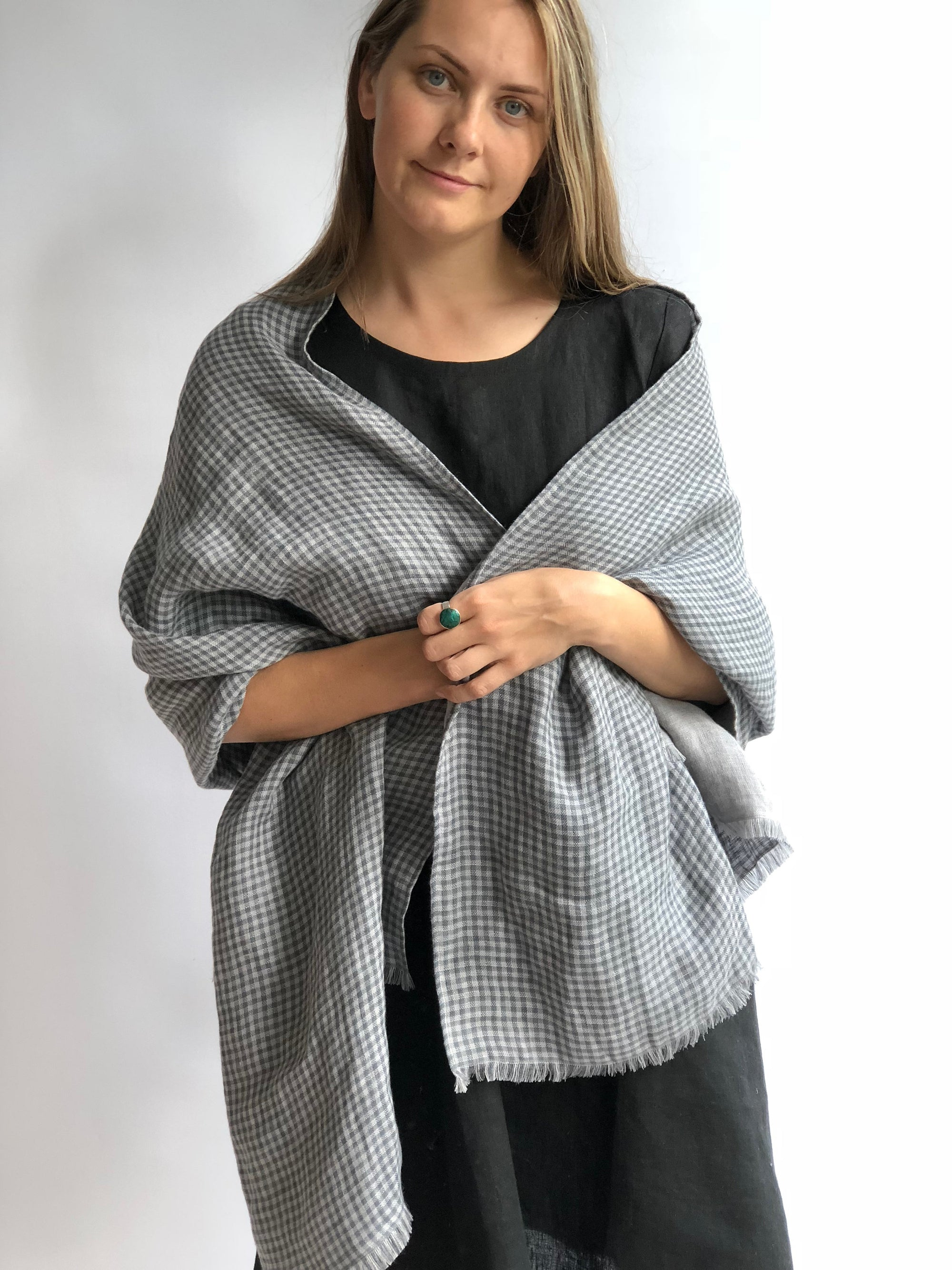 Oversized Linen Scarf, Grey Checkered Linen Shawl, Womens Shawl ,Double Sided Linen Wraps Shawl, Christmas Gift