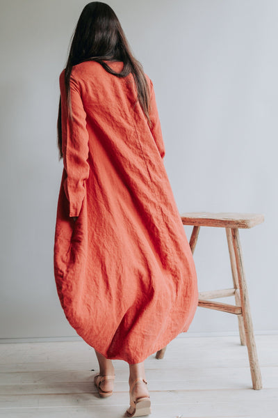 "Linen Dress ""Suzanna"" Linen Balloon Dress Woman, Plus size Dress Pockets Winter Linen Dresses for Women, Maxi Dress Linen, Long Dress Tent"