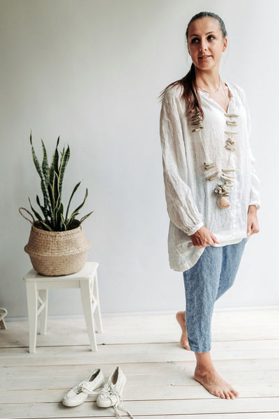 Gauze Linen Tunic Top, Coverup for Women, Gauzy Lightweight Boho Top, Sheer Tunic Top, Beach Plus Size Top, Linen Blouse, Womens Shirt Boho