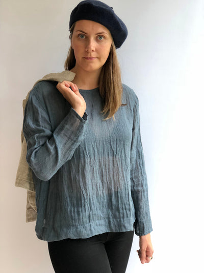 Linen Gauzy Shirt 'Sophia' with Long Sleeves, Linen Blouse, Linen Gauze Shirt Plus size shirt Gauzy top Rustic net top long sleeves Boho top