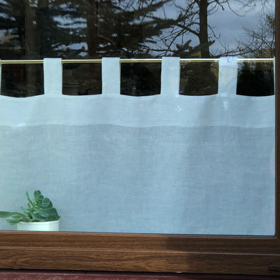 Linen Cafe Curtain, White Linen Curtain Panel, Linen Valance, Privacy Curtain, Kitchen Curtain Linen Kitchen Valance Cupboard Curtain Custom