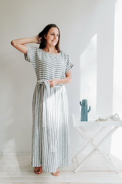"Long Linen Dress with Belt ""Aurelia"", Linen Maxi Dress, Striped Dress, Maxi Summer Dress Beach Linen Dress with Sleeves, Linen Summer Dress"