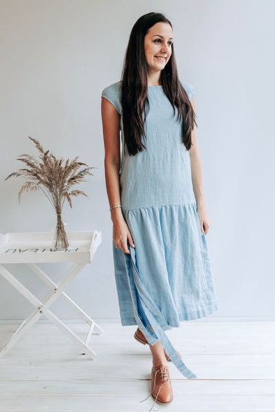 Drop Waist Dress from Linen, Drop Waist Maxi Dress, Dress Woman, Summer Dresses for Women, Linen Dresses for Women, Dress with Belt
