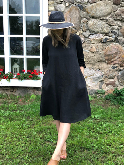 "Little Black Dress ""Eva"" Black Linen Dress, Linen dress for women, Black Dress Linen, Loose Linen Tunic Dress, Plus size dress"