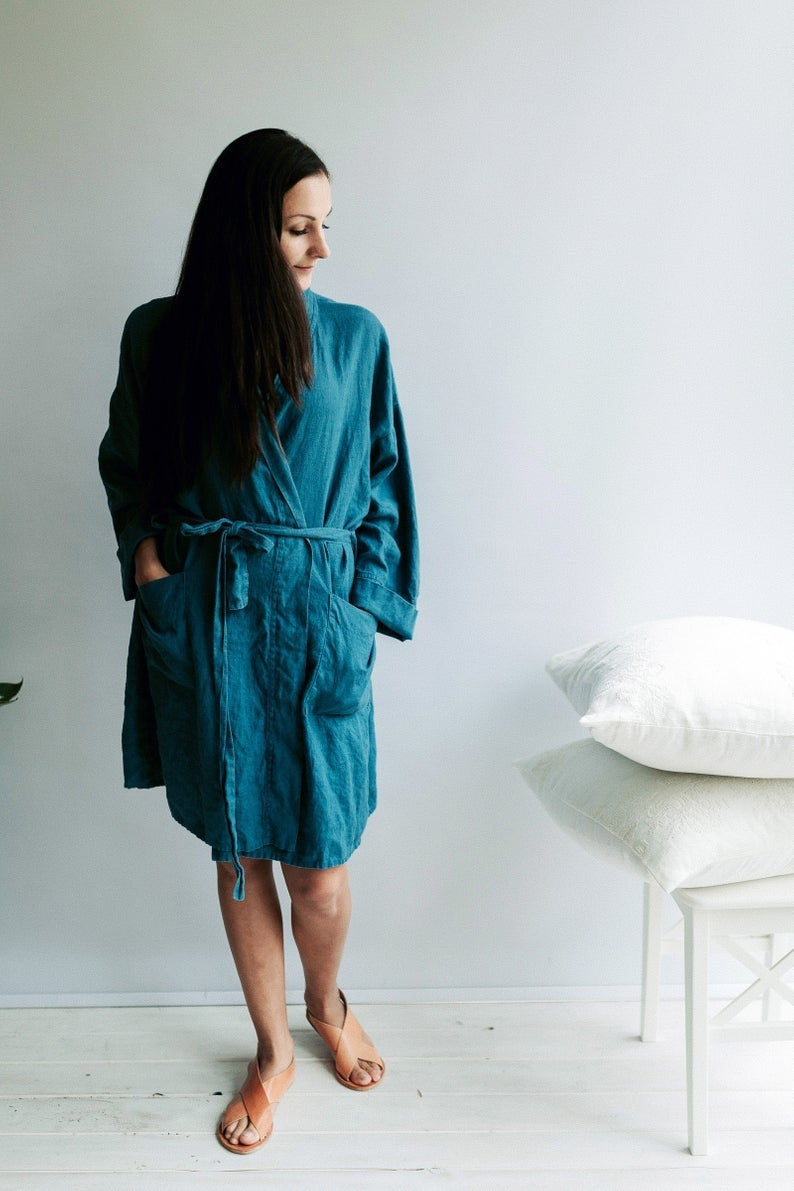 Ready to Ship: Size L/XL Linen robe, Linen bath robe