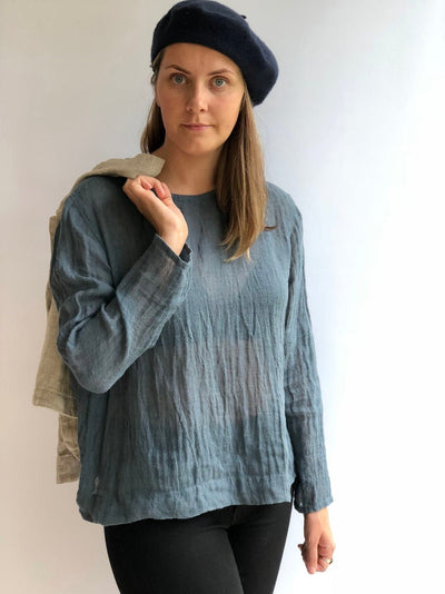 Ready to Ship: Linen Gauzy Shirt 'Sophia' with Long Sleeves, Size L, Linen Blouse, Linen Gauze Shirt
