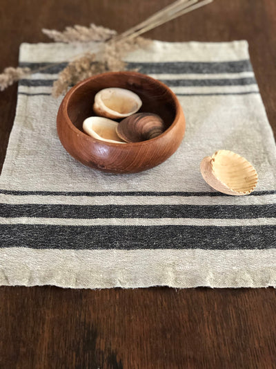 French Striped Linen placemats, set of 6 linen placemats, striped placemats, rustic placemats, country placemats, natural placemats country