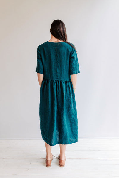 "Linen Dress with Peter Pan Collar ""Melody"", Midi length dress, Womens Linen Dress, Oversized Dress, Plus Size Dress, Maxi Length Dress Loose"
