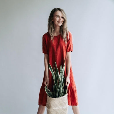 Drop Waist Dress 'Juliana' A line Dress from Linen, Drop Waist Linen Dress, Linen Dresses for Women, A line dress, Short Sleeve Dress