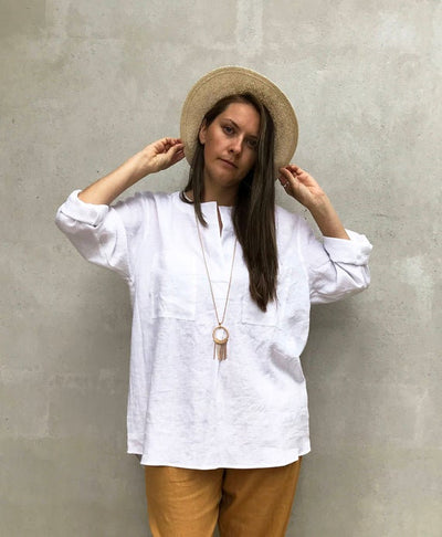Ready to Ship: Loose Womens Shirt, Size L, Linen Shirt, Tunic Shirt, boyfriend shirt, summer shirt, light shirt, boho shirt