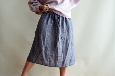 Ready to Ship: Linen Skirt, Size M/L, Midi Skirt, Skirt with Pockets, Boho Skirt, Custom Skirt, Plus size skirt, Skirts for Women