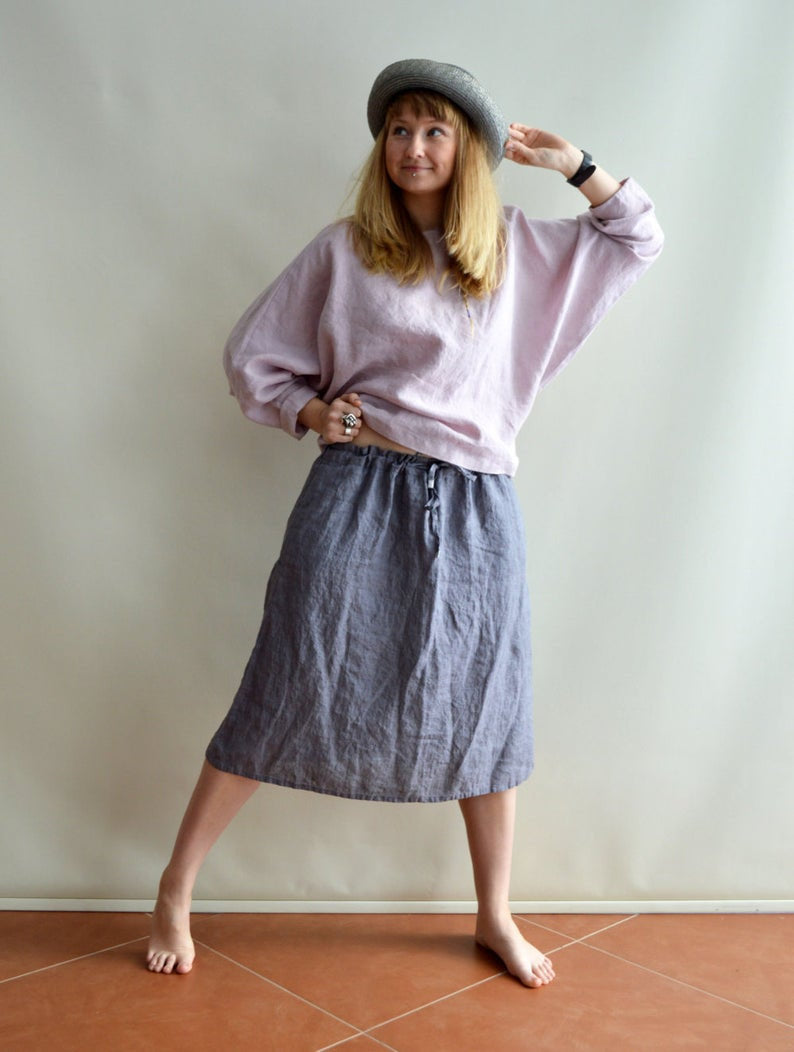 Ready to Ship: Linen Skirt, Size M/L