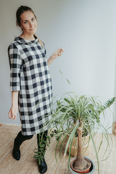 Linen Tunic Dress with Raised Collar 'Jackie', Tunic Dress Women