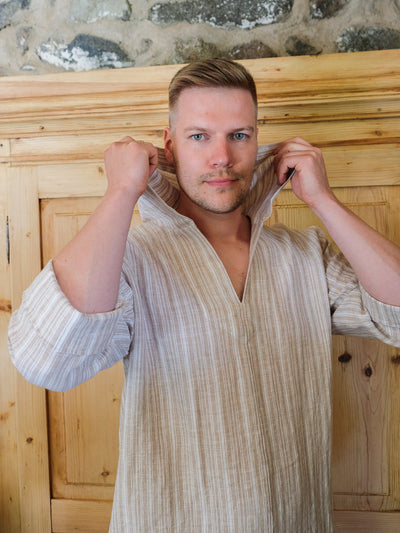 Mens tunic 'Scott', Hooded tunic men, mens kaftan, linen kaftan, men caftan, plus size robe, men's kaftan, plus size caftan, kaftan men gift