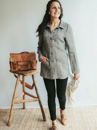 Womens Linen Jacket 'Cate', Linen Blazer for Women, Linen Coat, Linen Cardigan