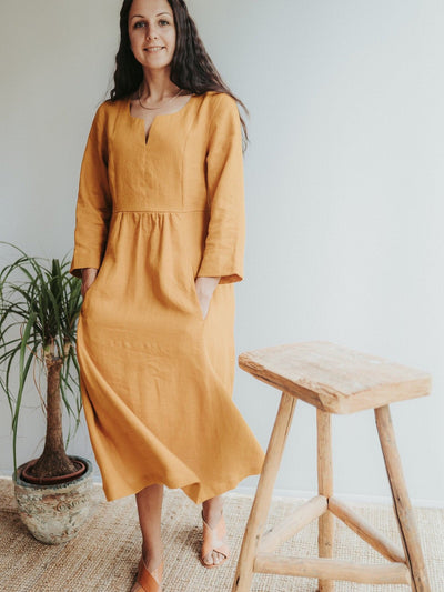 Linen Dress with 3/4 Sleeves and Princess Seams 'Aurelia'  Midi length Dress, Long Womens Dress, Maternity dress, Maxi Dress