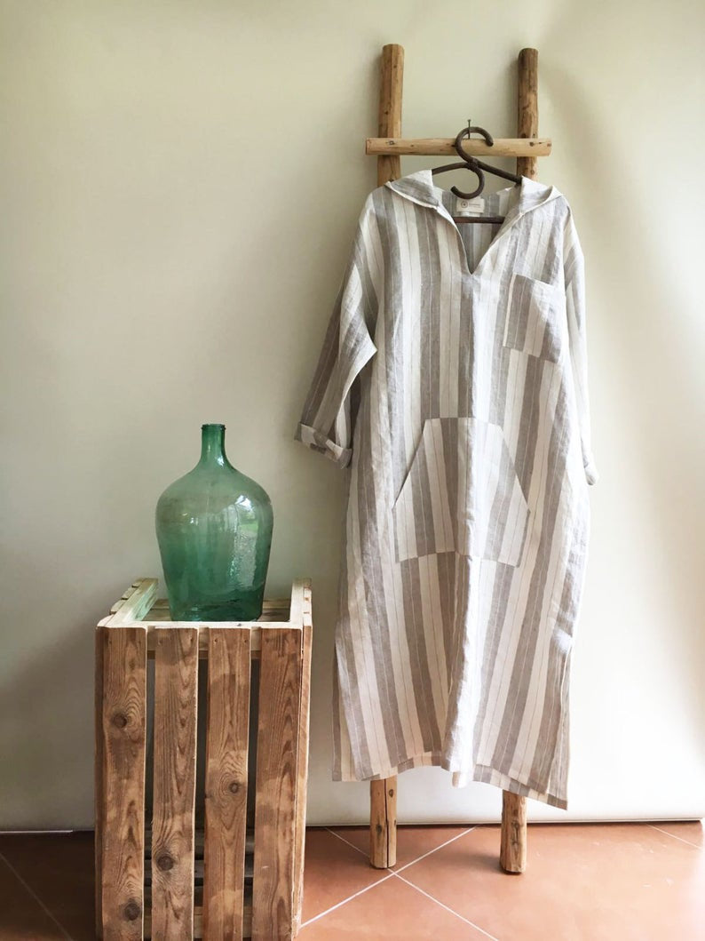 Ready to Ship:Men linen robe, Size XL