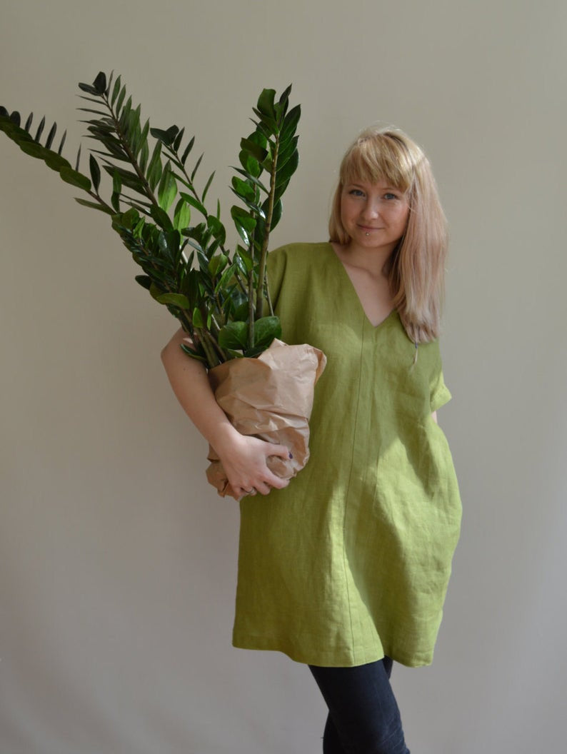 Ready to Ship:Linen Tunic Dress, Size 3XL/4XL