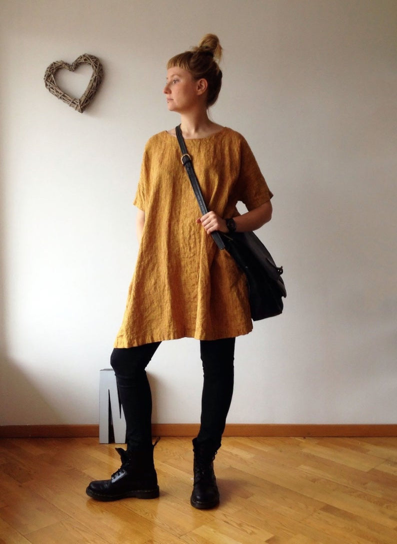 Ready to Ship:Loose Linen Tunic Dress, Sixe M