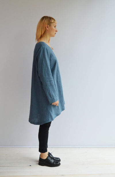 Ready to Ship:Blue Linen Tunic, Size L, Plus size tunic top, Linen Tunic for Women, Womens tunic, loose linen tunics, plus size clothing