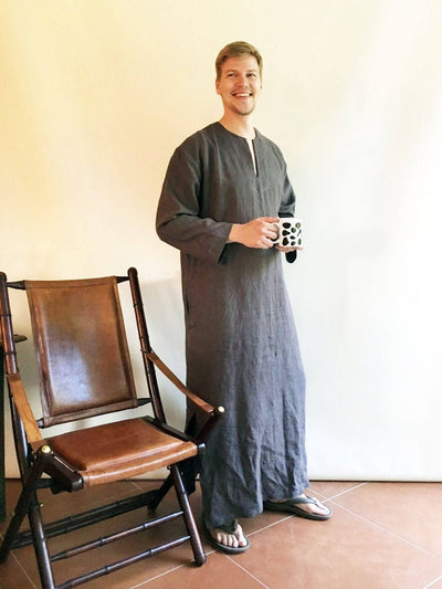 Ready to Ship:Linen Kaftan men, Size XXL, Kaftan Robe, Man robe, Caftan, Plus size caftan, Gift for man kaftan, boyfriend gift, linen pyjama