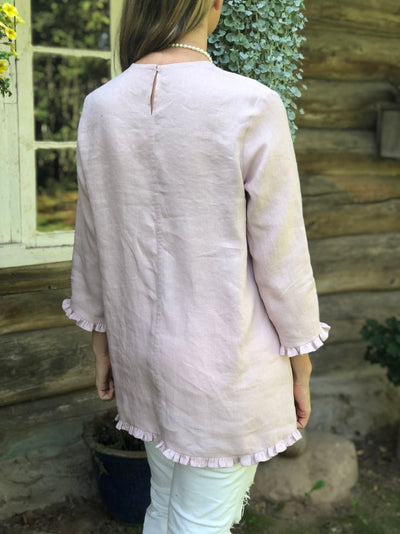 Ready to Ship: Linen Tunic with Ruffles 'Shirley',Size XL, elegant linen tunic top, linen tunic for women, linen blouse woman, formal linen