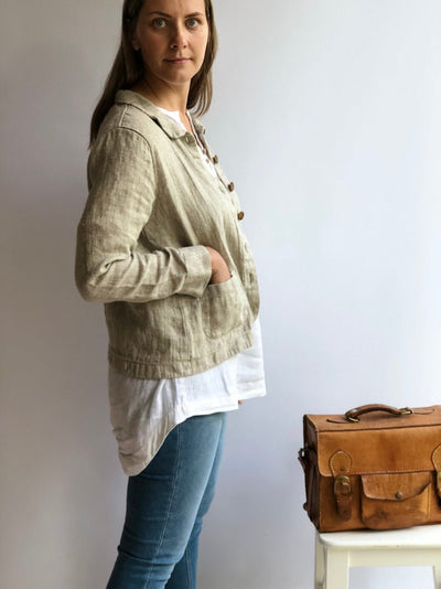 Ready to Ship:Women Linen Blazer 'Georgia-Rustic', Size M/L, Artist Linen cardigan, Linen Jacket Natural, Womens Linen Jacket Short, Womens