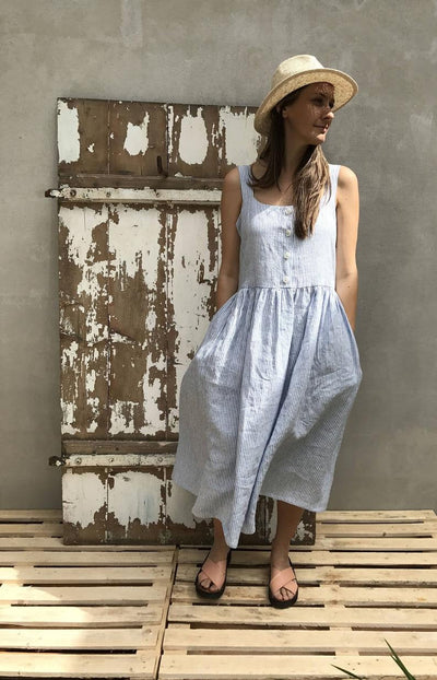 Ready to Ship:Button Up Maxi Dress, Size M, Sleeveless Linen Dress Striped Pinafore Dress Jumper Maxi Dress Plus Size Sundress Linen Dress