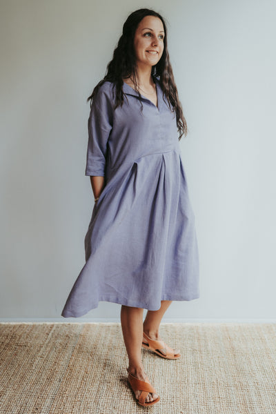 Linen Midi Dress 'Beckie', Loose Linen Dress for Women, Linen Tunic Dress, Plus size clothing, Maternity Dress