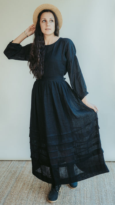 Gauze Linen Dress 'Cecilia', Boho Midi Dress, Long Womans Dress, Maxi Dress, Edwardian Dress, Black Dress, Gothic Dress, Black Maxi Dress