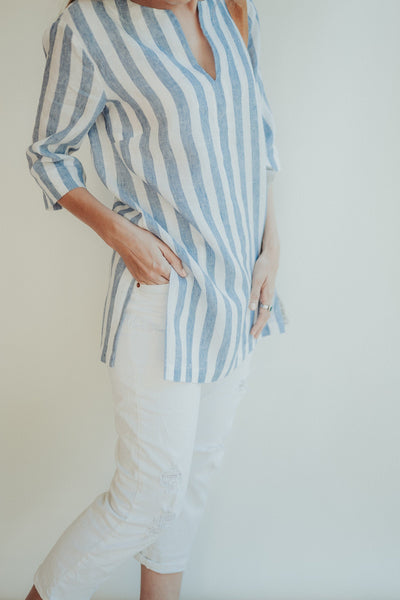 Linen V Neck Shirt for Women 'Tina', Striped Linen Shirt, Womens Shirt, Linen Shirt, plus size shirt, Tunic Shirt, Linen Top, Women Blouse