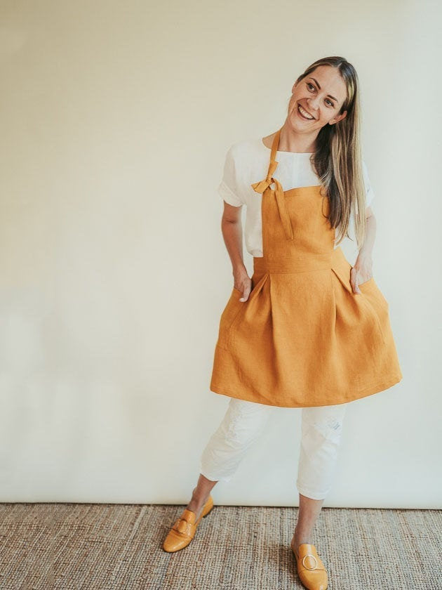 Vintage Inspired Cute Linen Apron 'Sunshine', Feminine apron, linen pinafore apron, natural linen apron pinafore, Smock Apron with pockets