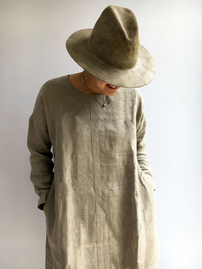 Ready to Ship:Natural linen tunic, Size XL