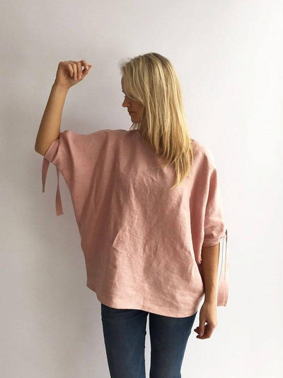 Ready to Ship:Loose linen top, Size XXL, Loose top, Linen Blouse, Loose Blouse, Linen Top, Linen Blouse, Batwing Blouse, Plus size top