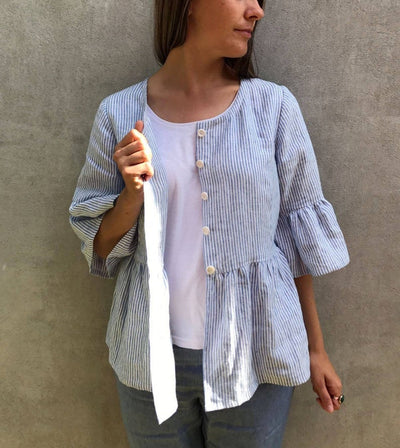 Ready to Ship:Linen Jacket with Ruffles, Size L, Fluted Sleeve Top, Linen Top with Ruffles, Buttoned Shirt, Striped Linen Top, Linen Jacket