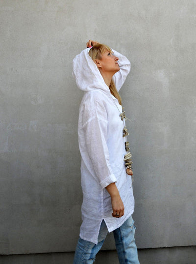 Ready to Ship:Hooded Tunic, Size L, White Linen Tunic Top, Hooded Top, Beach Dress, Beach Cover up, Womens Shirt, Loose Hooded Shirt