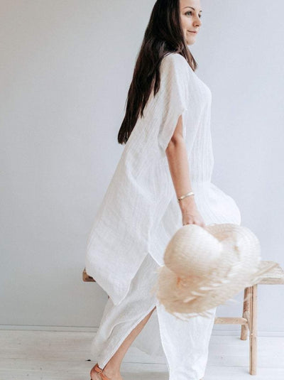 Ready to Ship: Beach Cover Up from Gauzy Linen, Size L-XL, Coverup Sheer, Gauzy Lightweight Coverup Swim Beach Cover Up Dress Plus size