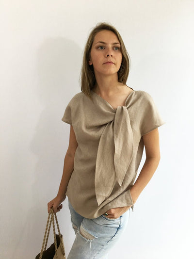 Ready to Ship:Light Linen Top, Size XL, Elegant Womens Top, Linen blouse, Linen Shirt Women, Plus size top, Made To Measure Top, Plus size