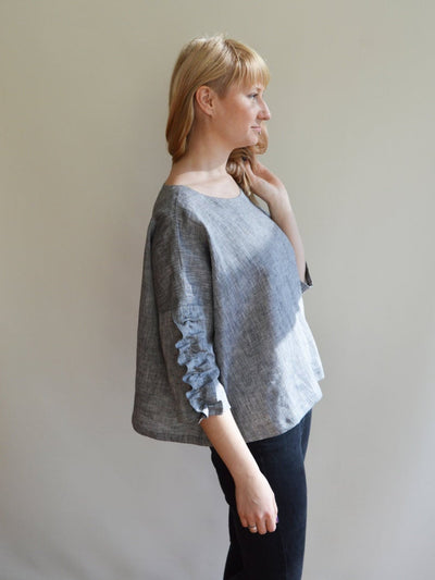 Ready to Ship:Linen Top, Size 3XL-4XL, Elegant women blouse, Womens Top, Loose Top, Tunic top, Linen blouse, Linen Shirt Women,Plus size top