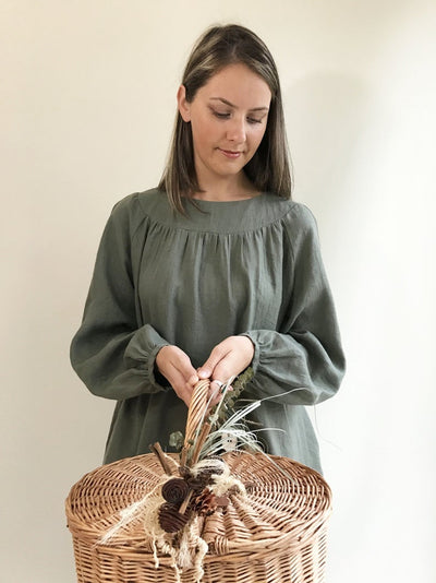 Ready to Ship: Loose Linen Tunic with Beautiful Shirring, Size L, Womens Tunic, Plus Size Clothing, Linen Tunic Dress, Womens Tunic