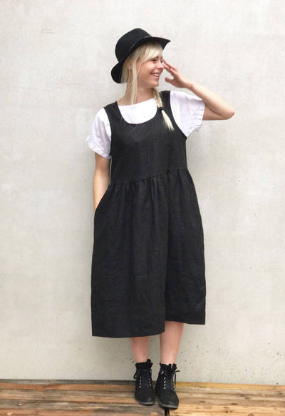 Ready to Ship: Linen Pinafore Dress, Size XXL, Black Linen Sundress, Sleeveless Dress, Plus Size Sundress, Linen Dress Women Jumper dress