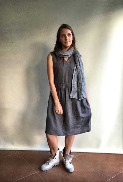 Ready to Ship: Grey Sleeveless Linen Dress, Size L, Linen pinafore dress, Loose dress, womens dress, linen dresses for woman, dress pockets,