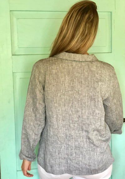 Ready to Ship:Linen Jacket Women 'Kim' , Size L, Linen cardigan, Linen Coverup, Grey Linen Blazer, Womens Linen Jacket, Womens Jacket, Plus