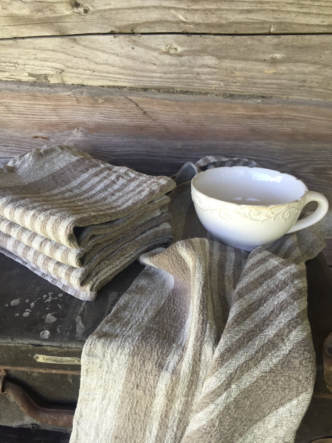 Durable linen tea towel, set of 4 rustic dish towels, thick kitchen towels, hand towel hostess gift kitchen towels dish cloth, tea towel set