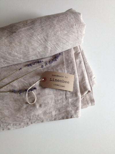 Linen sheet, flat linen sheet, softened linen sheet, pure linen upper sheet by Linenbee