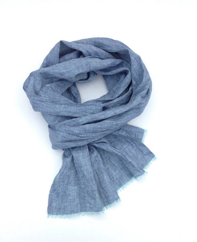 Free Shipping Worldwide, Blue Linen Scarf, Melange Blue Shawl for Men or Women, Softened Linen scarf by Linenbee